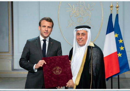 President of France Receives Credentials of Qatar's Ambassador