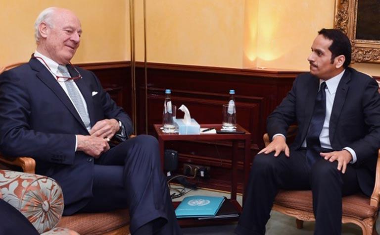 سعادة وزير الخارجية يبحث مع المبعوث الأممي تطورات الأزمة السورية