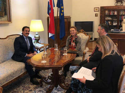 نائبة رئيس الحكومة في كرواتيا تجتمع مع سفير دولة قطر
