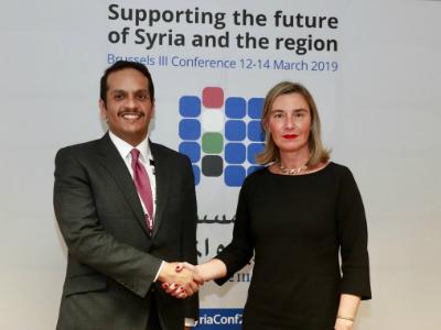 نائب رئيس مجلس الوزراء وزير الخارجية يجتمع مع الممثلة العليا للاتحاد الأوروبي