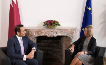 نائب رئيس مجلس الوزراء وزير الخارجية يجتمع مع الممثلة العليا للشؤون الخارجية والسياسية والأمنية للاتحاد الأوروبي