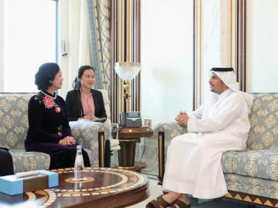 نائب رئيس مجلس الوزراء وزير الخارجية يجتمع مع رئيسة اللجنة المركزية للتعبئة الجماهيرية عضو المكتب السياسي للحزب الشيوعي الفيتنامي