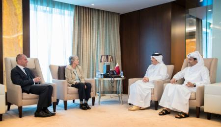 نائب رئيس مجلس الوزراء وزير الخارجية يجتمع مع رئيسة مجلس إدارة الصندوق العالمي لإشراك المجتمعات ومساعدتها على الصمود