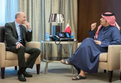 نائب رئيس مجلس الوزراء وزير الخارجية يجتمع مع رئيس مجموعة الأزمات الدولية