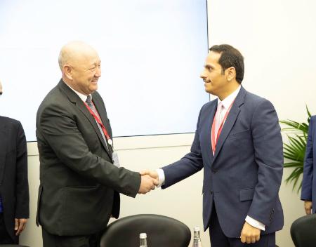 نائب رئيس مجلس الوزراء وزير الخارجية يجتمع مع نائب رئيس الوزراء القيرغيزي