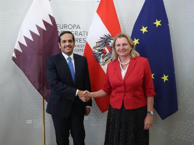 نائب رئيس مجلس الوزراء وزير الخارجية يجتمع مع وزيرة الخارجية النمساوية