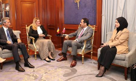 نائب رئيس مجلس الوزراء وزير الخارجية يجتمع مع وزيرة خارجية رومانيا
