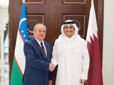 نائب رئيس مجلس الوزراء وزير الخارجية يجتمع مع وزير خارجية أوزبكستان