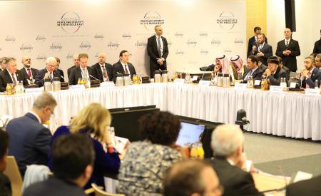 نائب رئيس مجلس الوزراء وزير الخارجية يشارك في الاجتماع المعني بدعم السلام في الشرق الأوسط