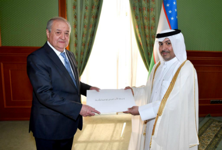 Uzbekistan's Minister of Foreign Affairs Receives Copy of Credentials of Ambassador of the State of Qatar