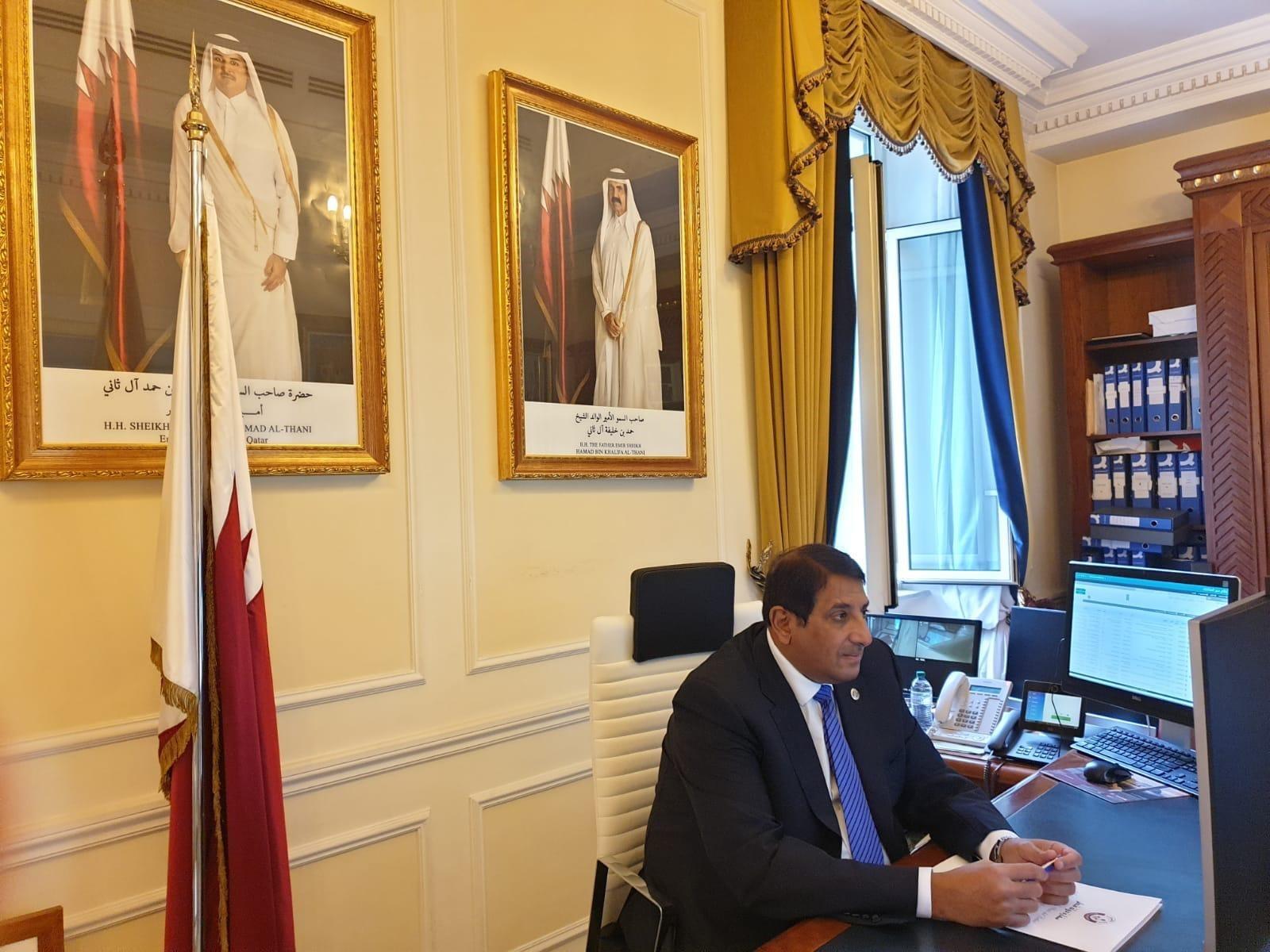 المديرة العامة للمنظمة الدولية لقانون التنمية تجتمع مع سفير دولة قطر
