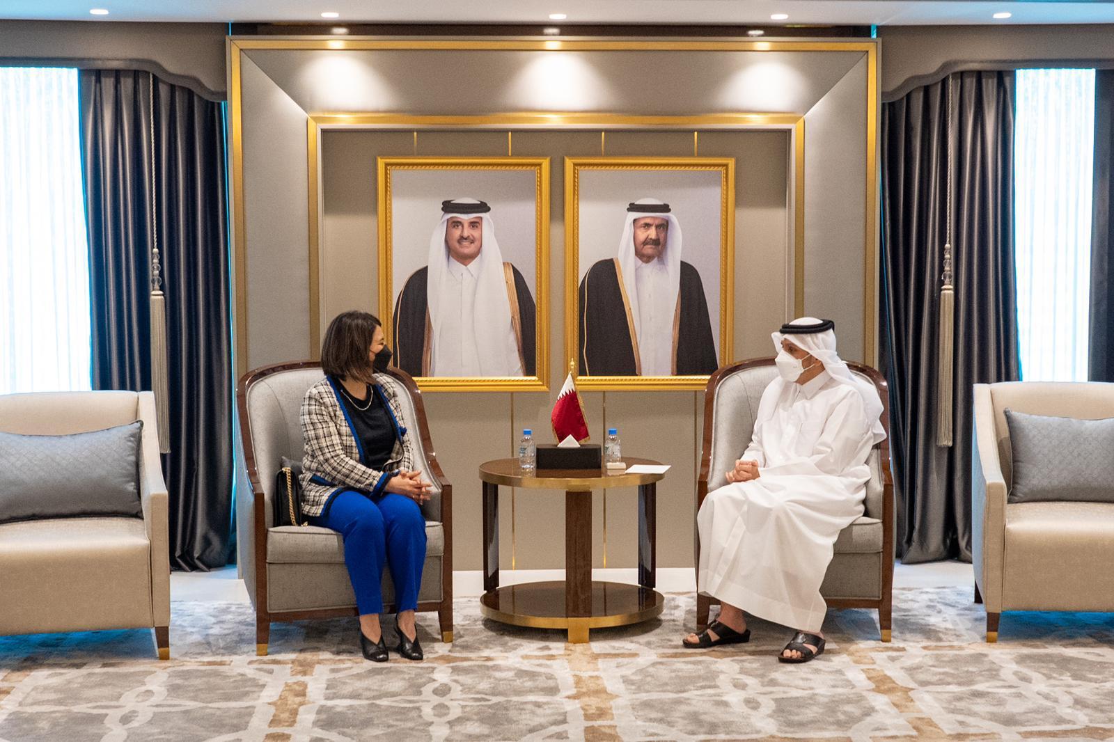 نائب رئيس مجلس الوزراء وزير الخارجية يجتمع مع وزيرة خارجية ليبيا