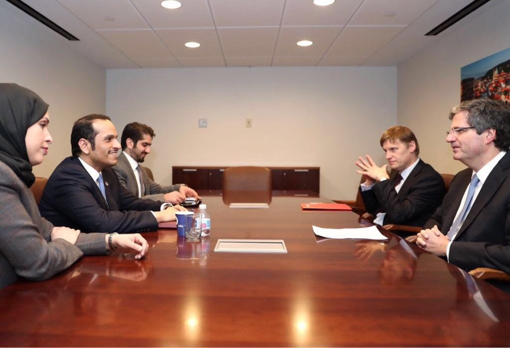 Qatar's Deputy Prime and Foreign Minister Meets French Envoy, UK Charge dAffaires to UN