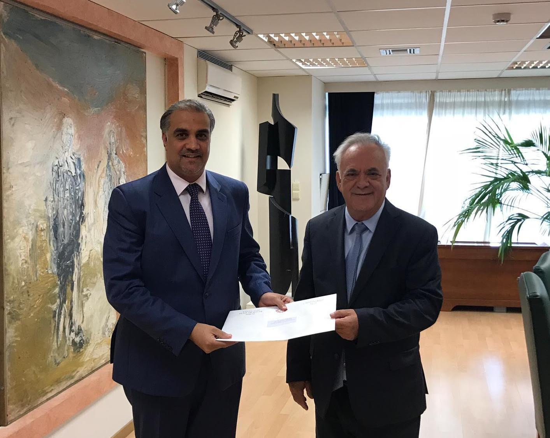 رسالة من نائب رئيس مجلس الوزراء وزير الخارجية إلى نائب رئيس الوزراء وزير الاقتصاد والتنمية اليوناني