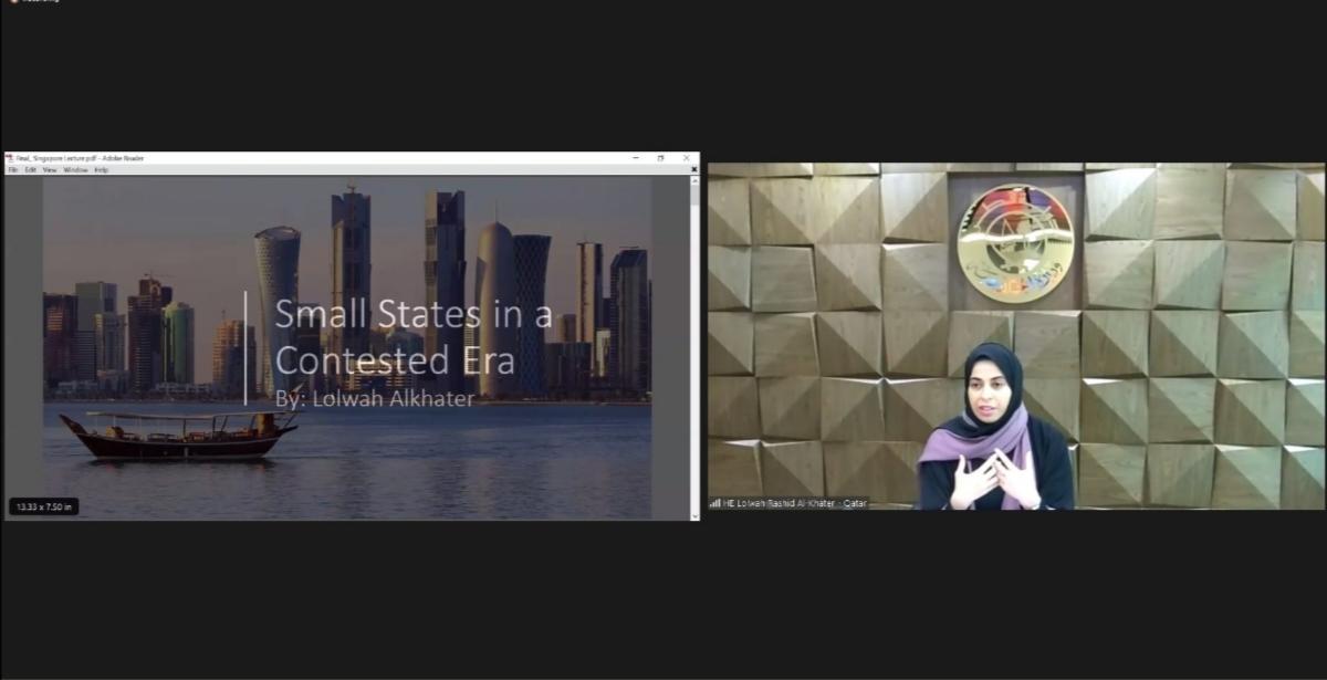 مساعد وزير الخارجية والمتحدث الرسمي لوزارة الخارجية تلقي محاضرة في معهد الشرق الأوسط في جامعة سنغافورة الوطنية