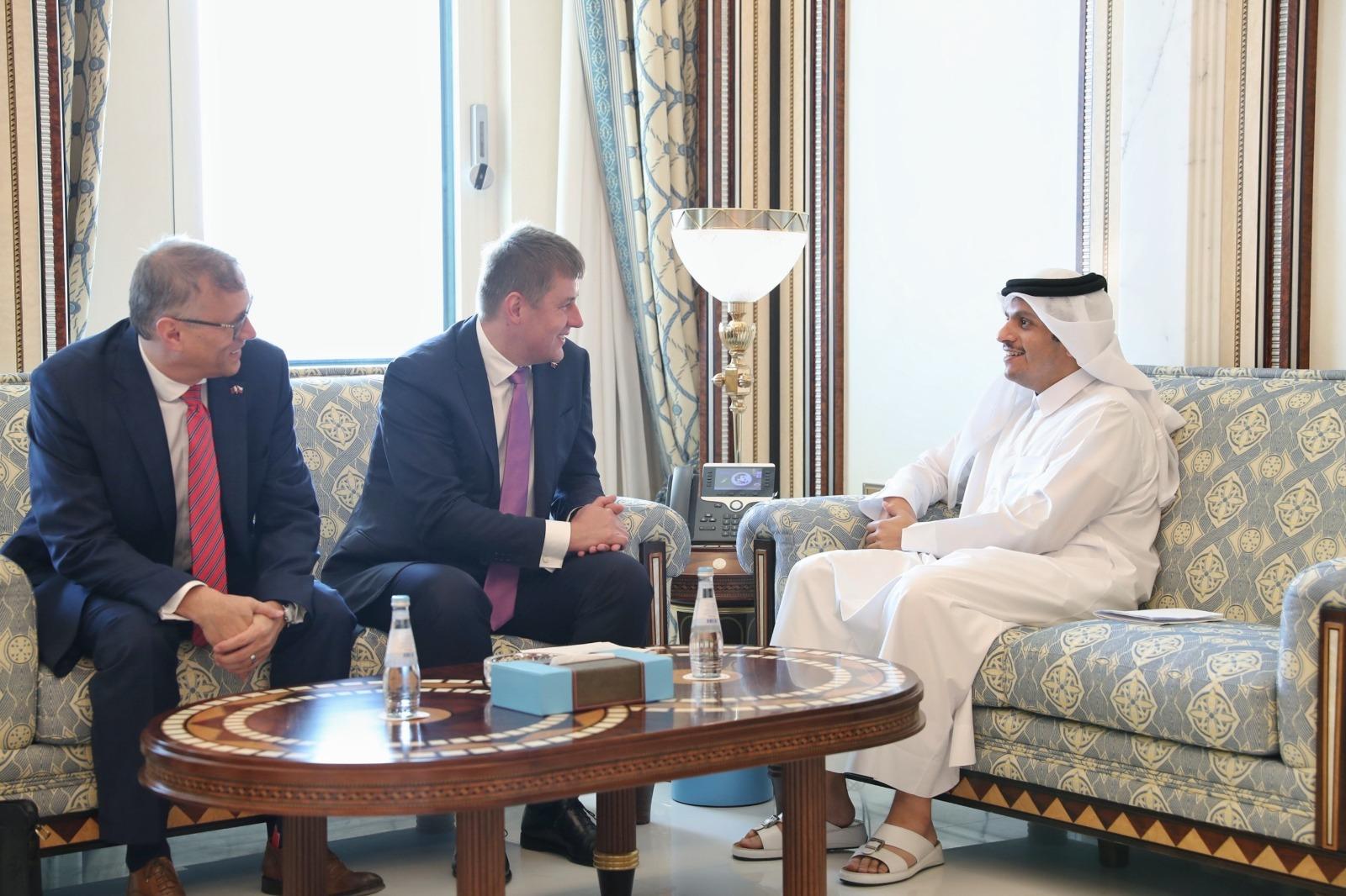 نائب رئيس مجلس الوزراء وزير الخارجية يجتمع مع وزير خارجية التشيك