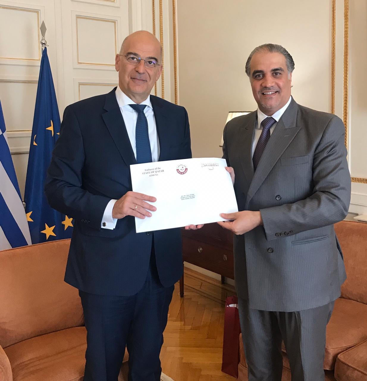 رسالة خطية من نائب رئيس مجلس الوزراء وزير الخارجية إلى وزير الخارجية اليوناني