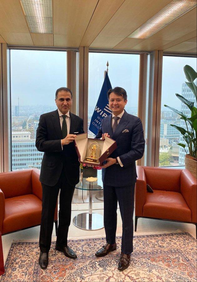 المندوب الدائم لدولة قطر لدى مكتب الأمم المتحدة بجنيف يجتمع مع مدير عام المنظمة العالمية للملكية الفكرية