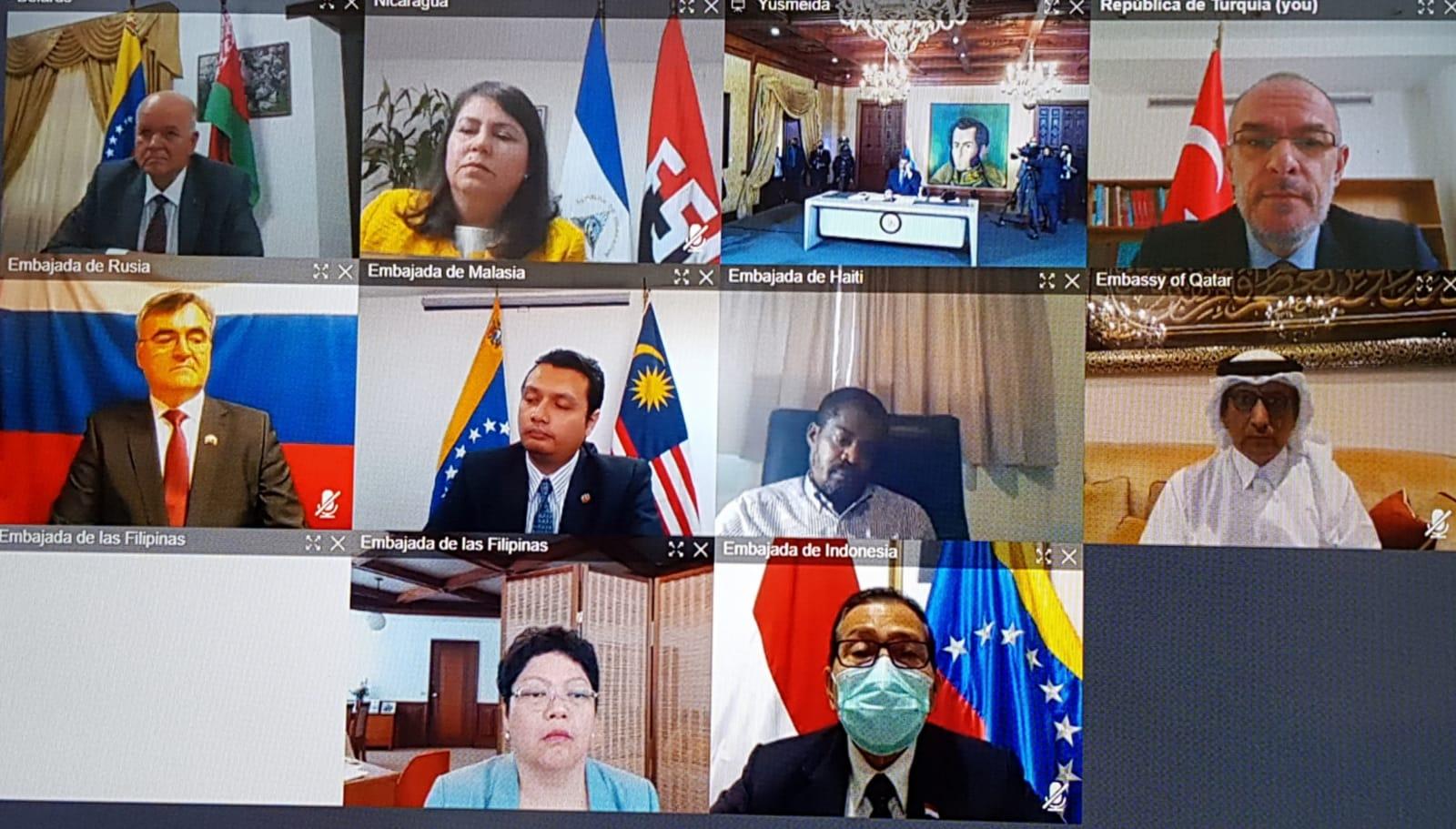 سفير قطر يشارك في مؤتمر صحفي للرئيس الفنزويلي عبر الاتصال المرئي