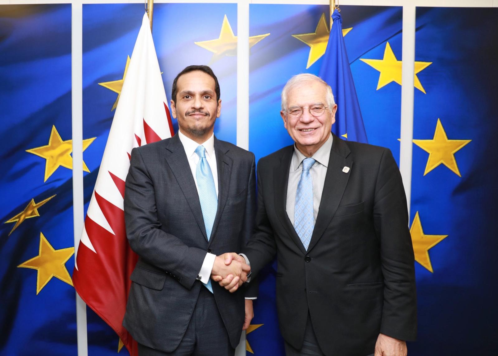 نائب رئيس مجلس الوزراء وزير الخارجية يجتمع مع الممثل الأعلى للاتحاد الأوروبي للشؤون الخارجية