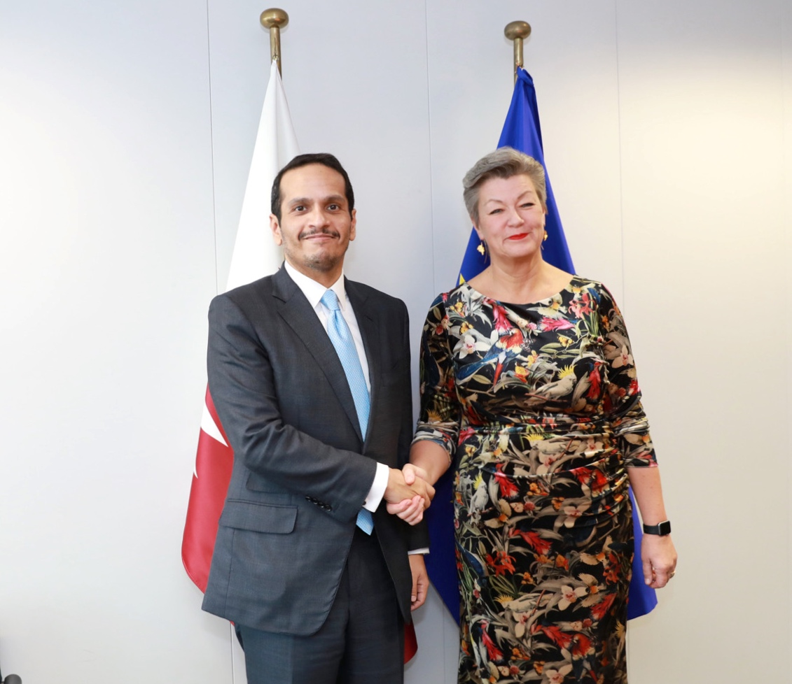 نائب رئيس مجلس الوزراء وزير الخارجية يجتمع مع مفوضة الشؤون الداخلية في الاتحاد الأوروبي
