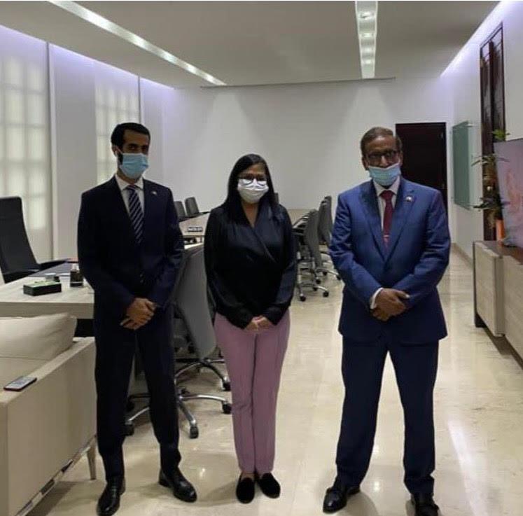 نائبة رئيس جمهورية فنزويلا تجتمع مع سفير دولة قطر