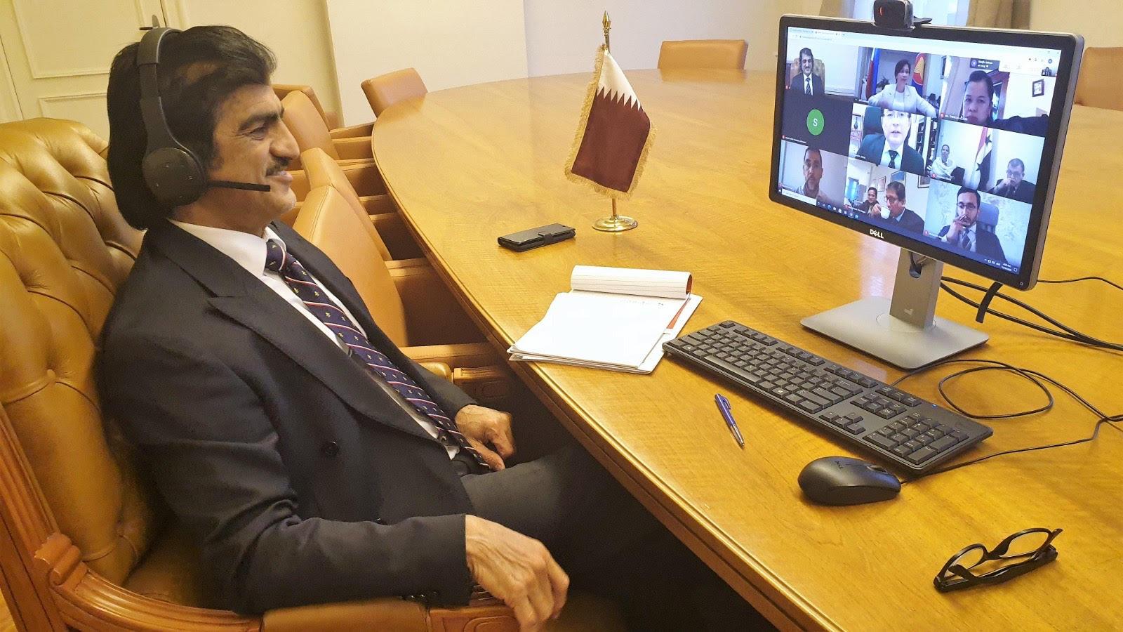 دولة قطر تشارك في الاجتماع الافتراضي لسفراء دول المجموعة الآسيوية الأعضاء في منظمة حظر الأسلحة الكيميائية