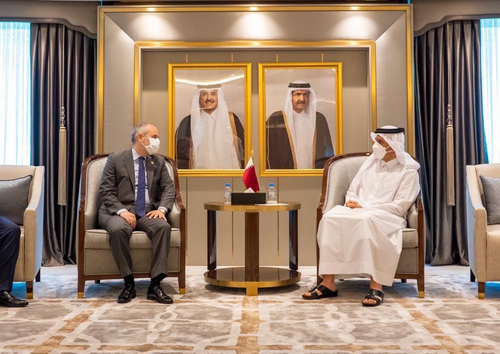 نائب رئيس مجلس الوزراء وزير الخارجية يجتمع مع رئيس لجنة الشؤون الخارجية للجمعية الوطنية التركية الكبرى