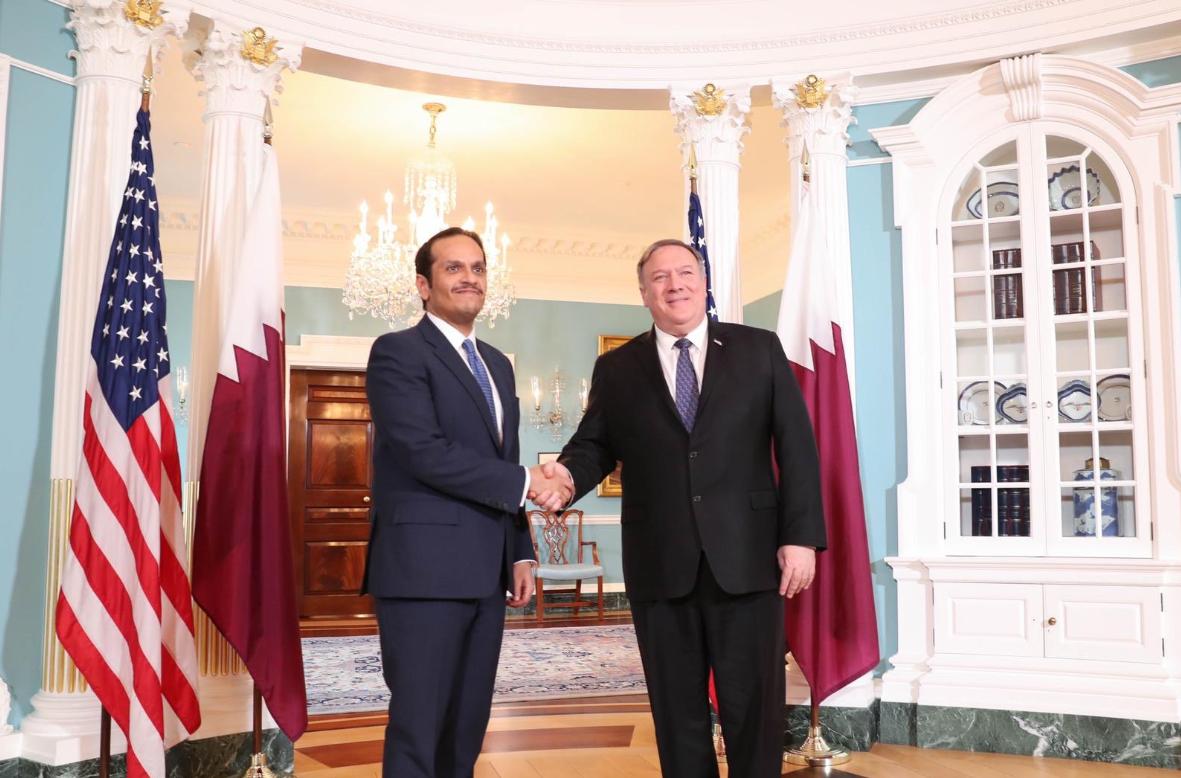 نائب رئيس مجلس الوزراء وزير الخارجية يجتمع مع وزير الخارجية الأمريكي