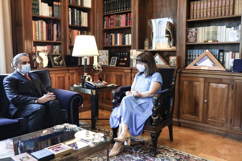 Greek President Meets Qatar's Ambassador