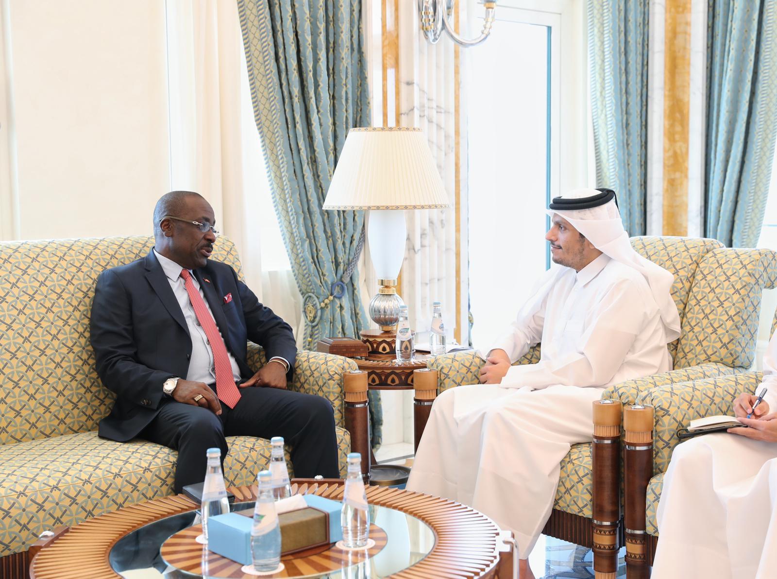 نائب رئيس مجلس الوزراء وزير الخارجية يجتمع مع وزير الخارجية والهجرة والتجارة في جمهورية انتيغوا وبربودا