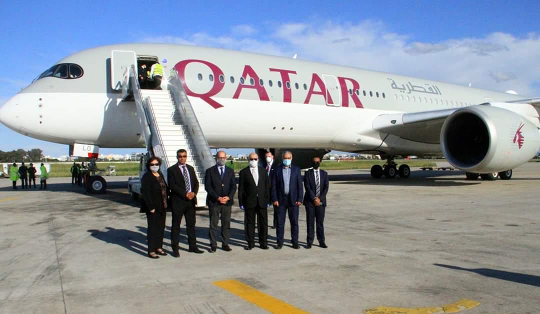 وصول المساعدات الطبية المقدمة من دولة قطر إلى تونس