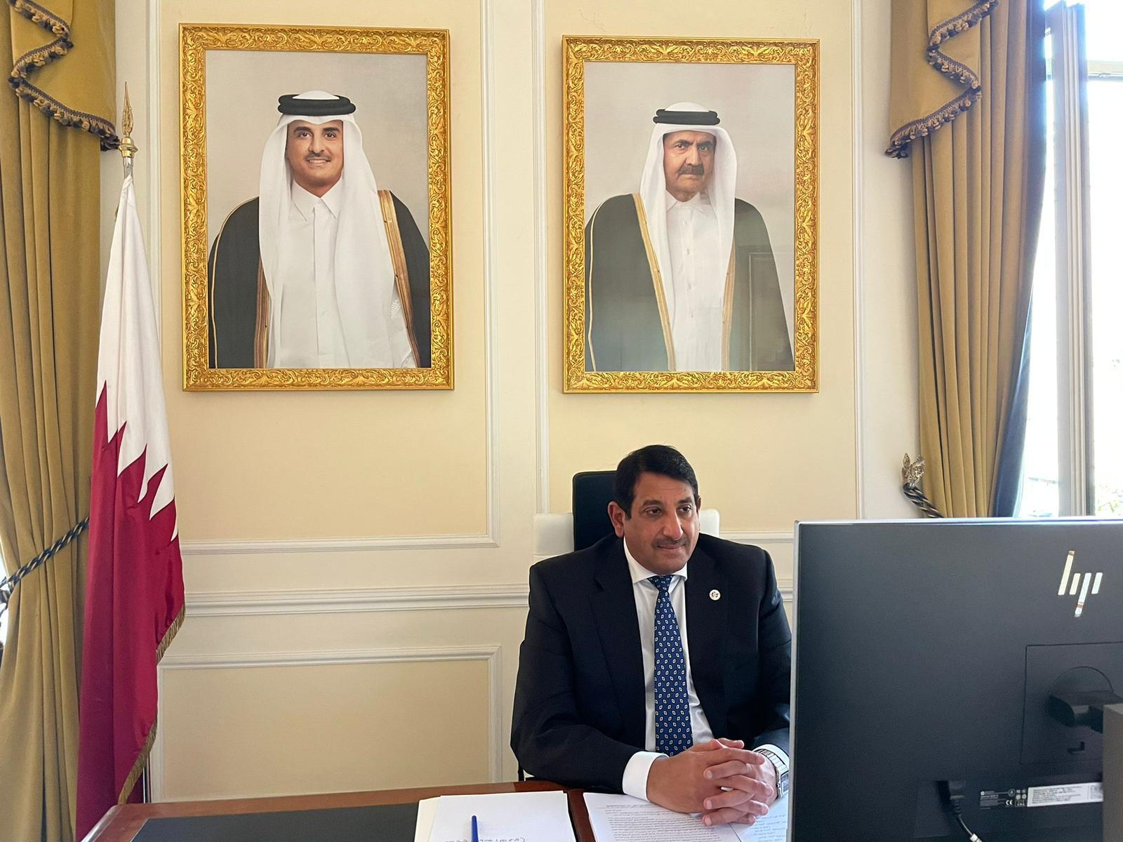 سفير دولة قطر يترأس لقاء مجلس السفراء العرب مع وزير الخارجية الإيطالي