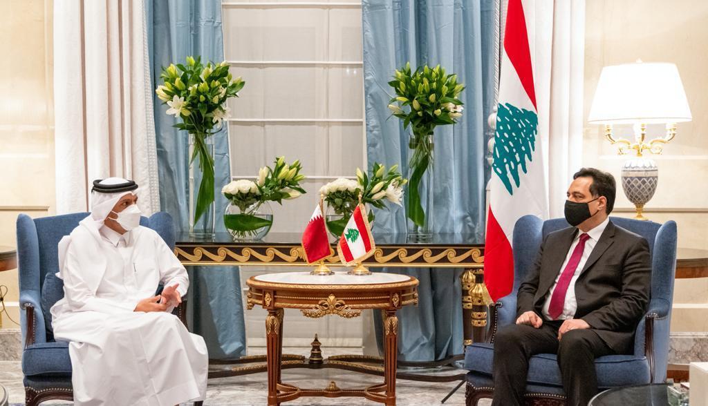 نائب رئيس مجلس الوزراء وزير الخارجية يجتمع مع رئيس حكومة تصريف الأعمال اللبناني