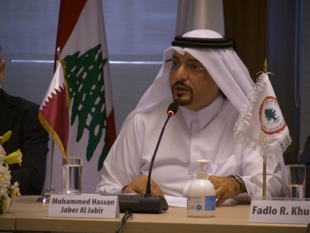 سفير دولة قطر بلبنان يشارك في حفل إعادة تأهيل المباني الجامعية المتضررة من انفجار مرفأ بيروت