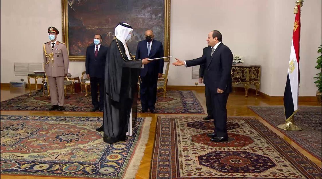 الرئيس المصري يتسلم أوراق اعتماد سفير دولة قطر