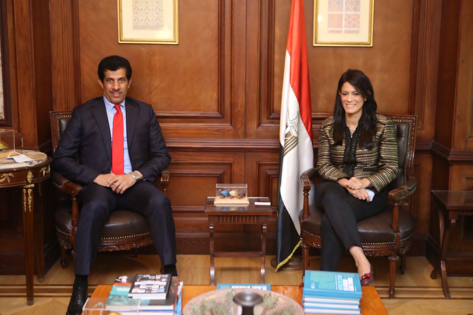 وزيرة التعاون الدولي المصرية تجتمع مع سفير دولة قطر