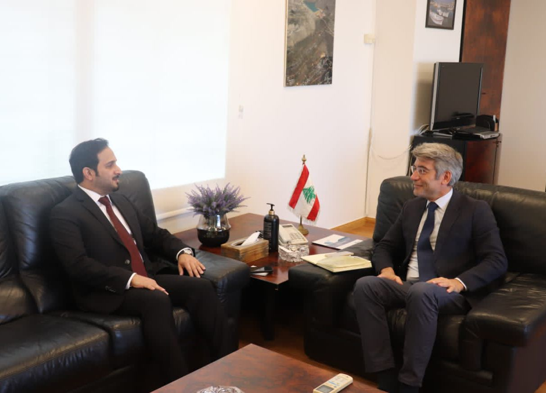 وزير الطاقة اللبناني يجتمع مع القائم بالأعمال القطري